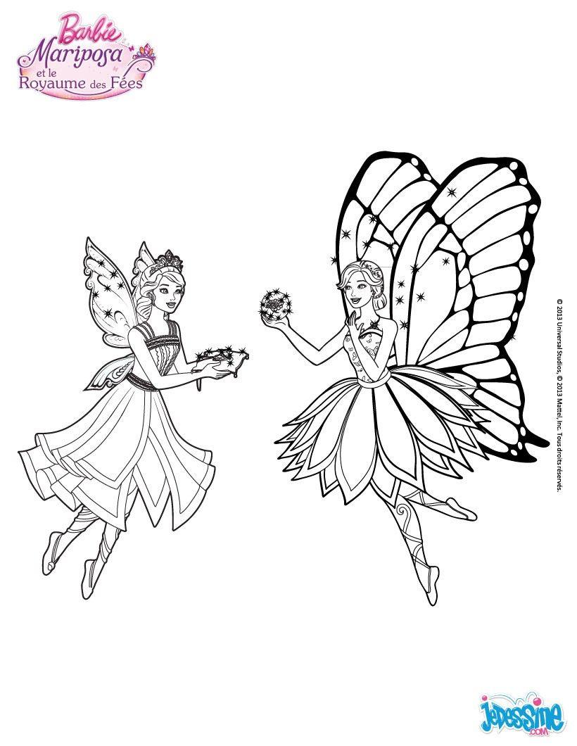 Un Coloriage De Barbie Mariposa Et De Son Amie Un Joli Coloriage