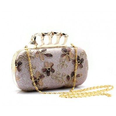 Womens Classic Floral Print Ring Clutch Evening Wedding Party Handbag Purse Munaudiere