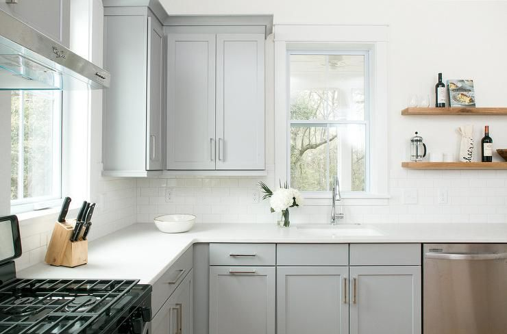 Best White Subway Tiles Around Dove Gray Kitchen Cabinets 400 x 300