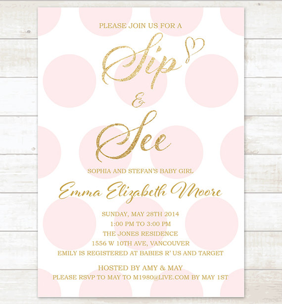 pink gold sip and see invitation baby by pinkdahliaprintable Sip