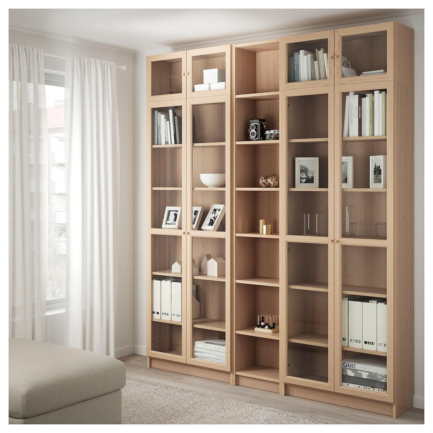 BILLY Bücherregal mit Aufsatzregal Eichenfurnier weiß