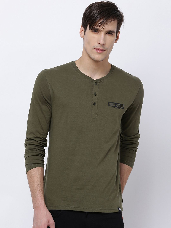 Buy LOCOMOTIVE Men Olive Green Slim Fit Solid Henley Neck T