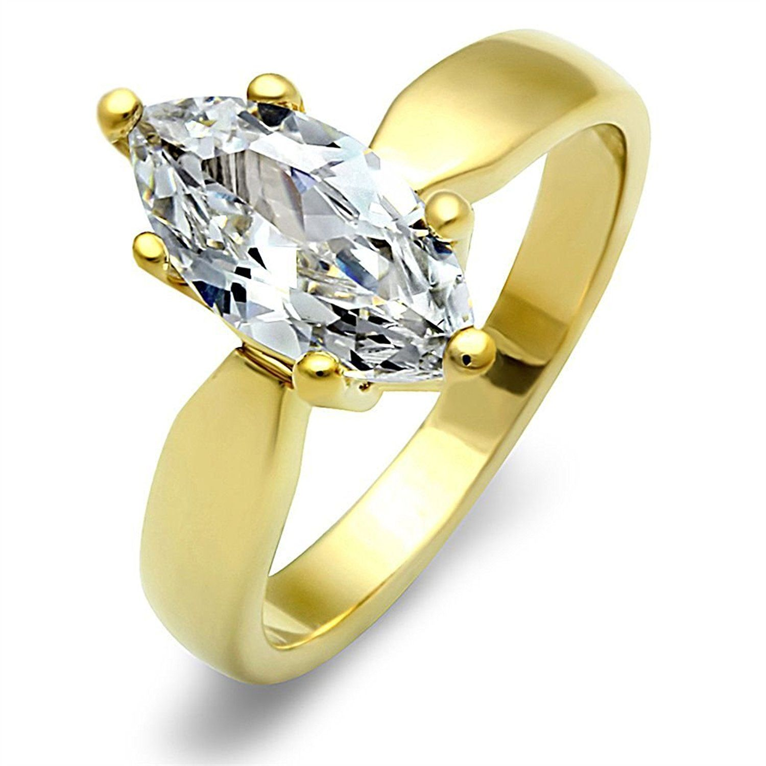 Yourjewellerybox TK1673 MARQUISE SOLITAIRE ENGAGEMENT SIMULATED DIAMOND RING WOMENS STEEL GOLD DI1zBOV1Y5