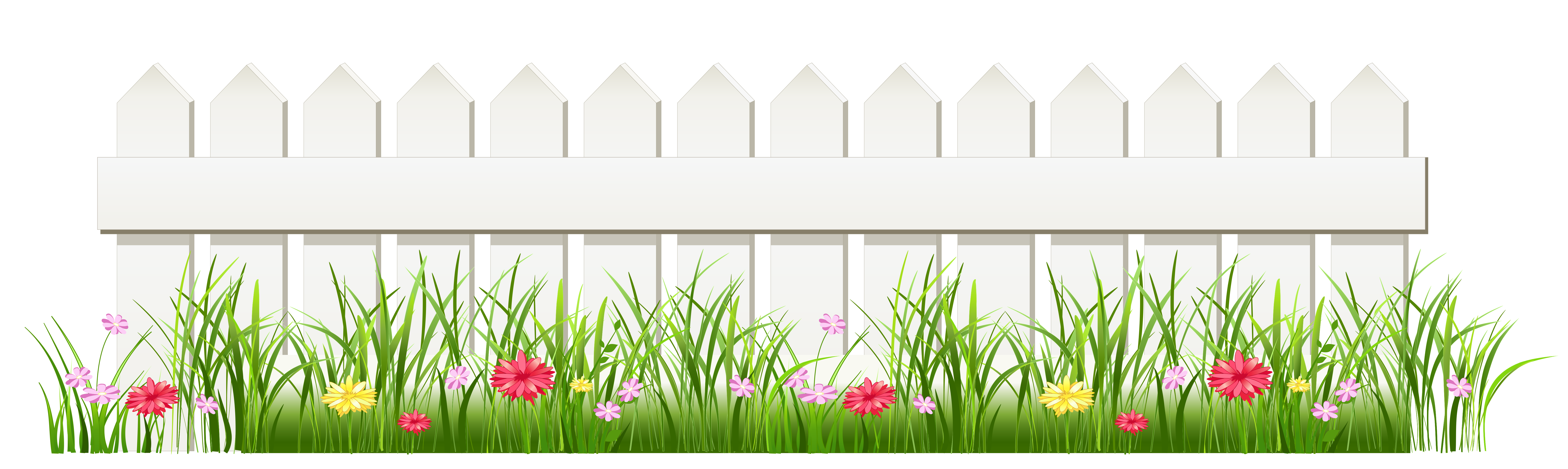 Transparent White Fence with Grass PNG Clipart White