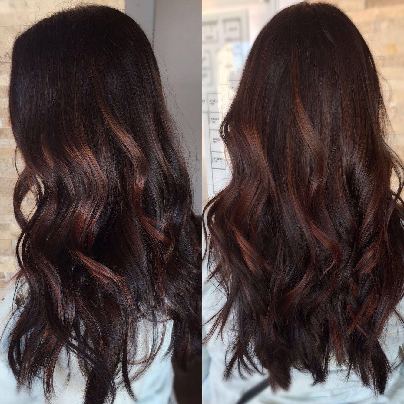 Dark Red Violet With Subtle Balayage Highlights Done By Hairdosbyshan Redish Brown Hair Brown Hair Balayage Balayage Hair