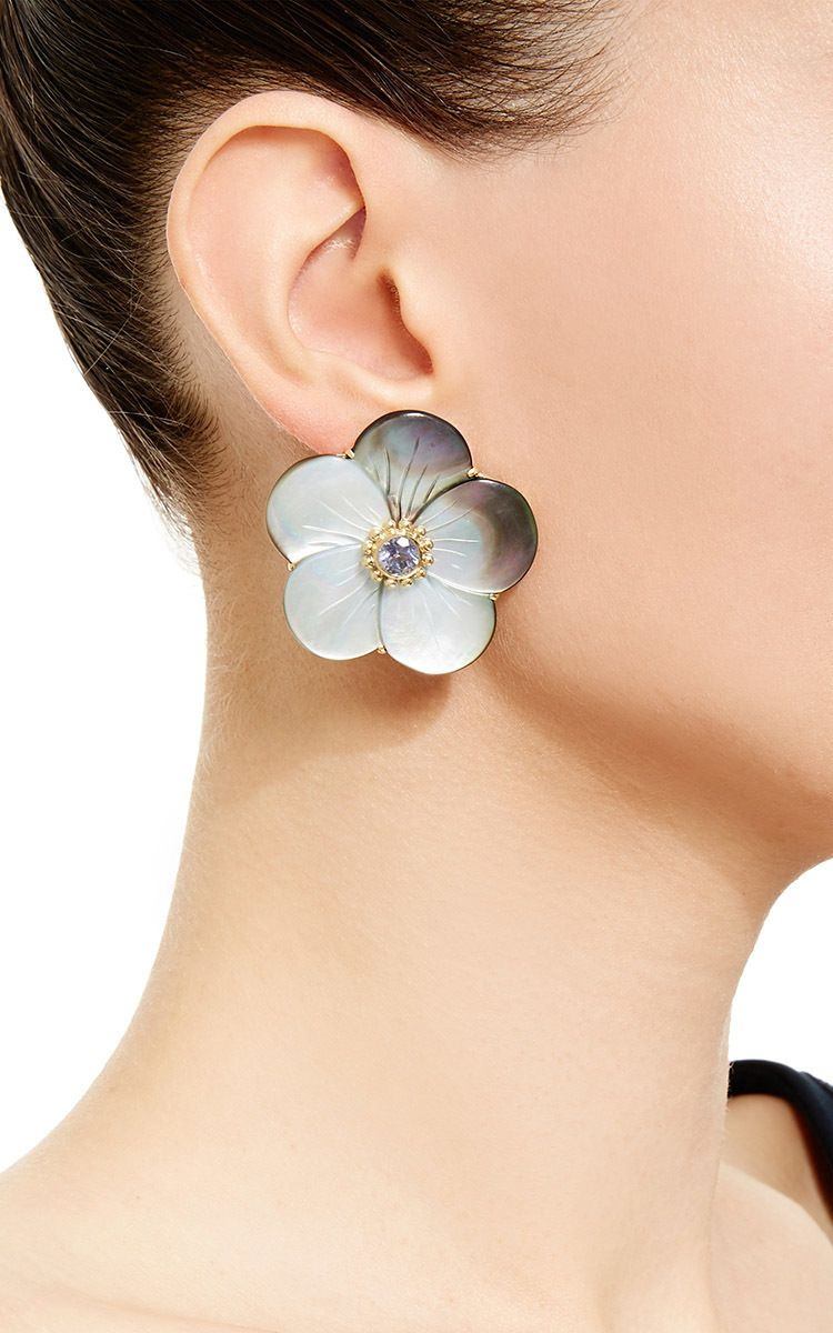 18K Yellow Gold Ear Studs With Gray Mother-Of-Pearl Rose And Iolite - Bahina Resort 2016 - Preorder now on Moda Operandi