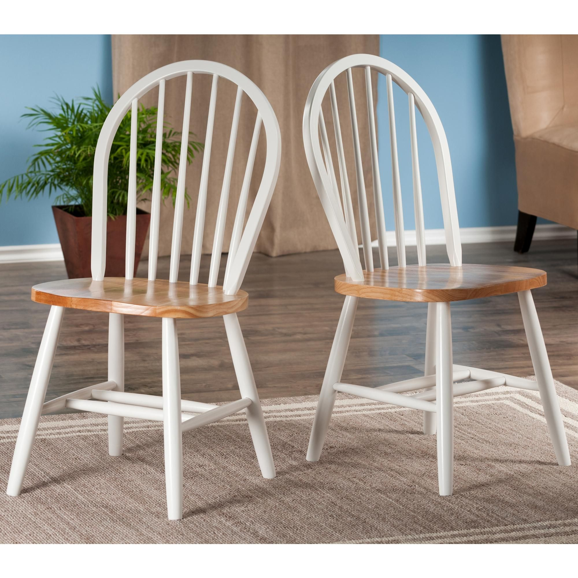 Winsome Wood Windsor Chair in Natural and White Finish Set of 2 & Winsome Wood Windsor Chair in Natural and White Finish Set of 2 ...