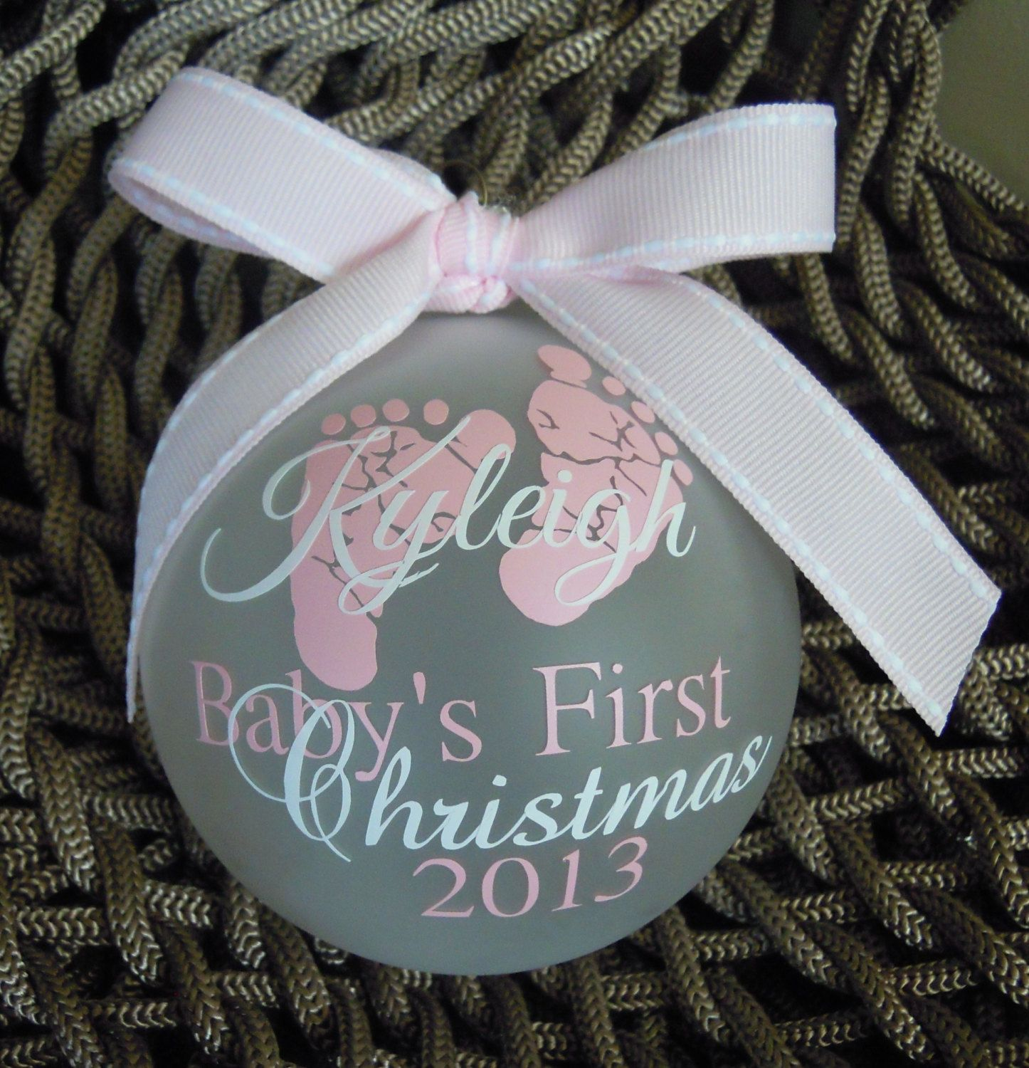 Baby's First Christmas Ornament Pink/White | Baby | Baby ...