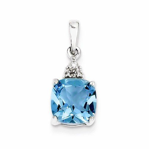 Sterling Silver Rhodium Lt Swiss Blue Topaz & Diamond Pendant