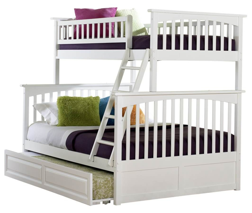 Loft bed plans full size  Atlantic Furniture Columbia White Twin Over Full Bunk Bed with