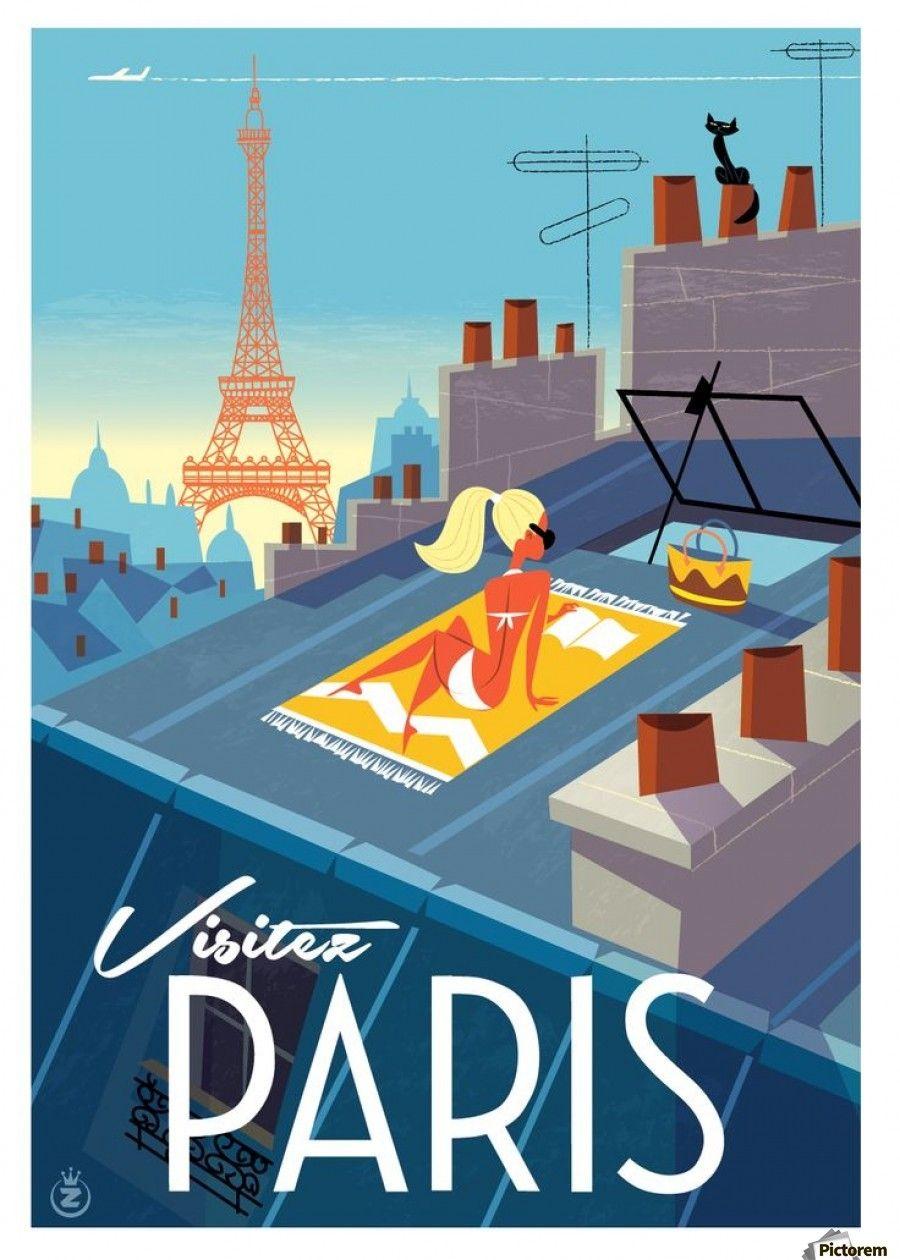 Visitez Paris Vintage Poster Vintage Poster Canvas Artwork Paris Poster Retro Travel Poster Travel Posters