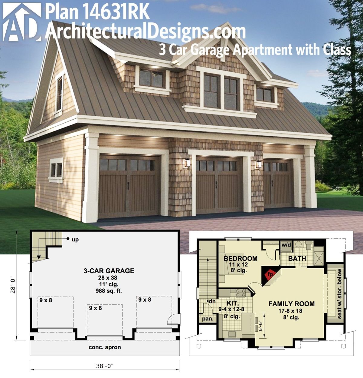 Architectural Designs Carriage House Plan 14631RK gives you parking     Architectural Designs Carriage House Plan 14631RK gives you parking for 3  cars on the main floor and a fully functioning apartment with almost 1 000  sq  ft