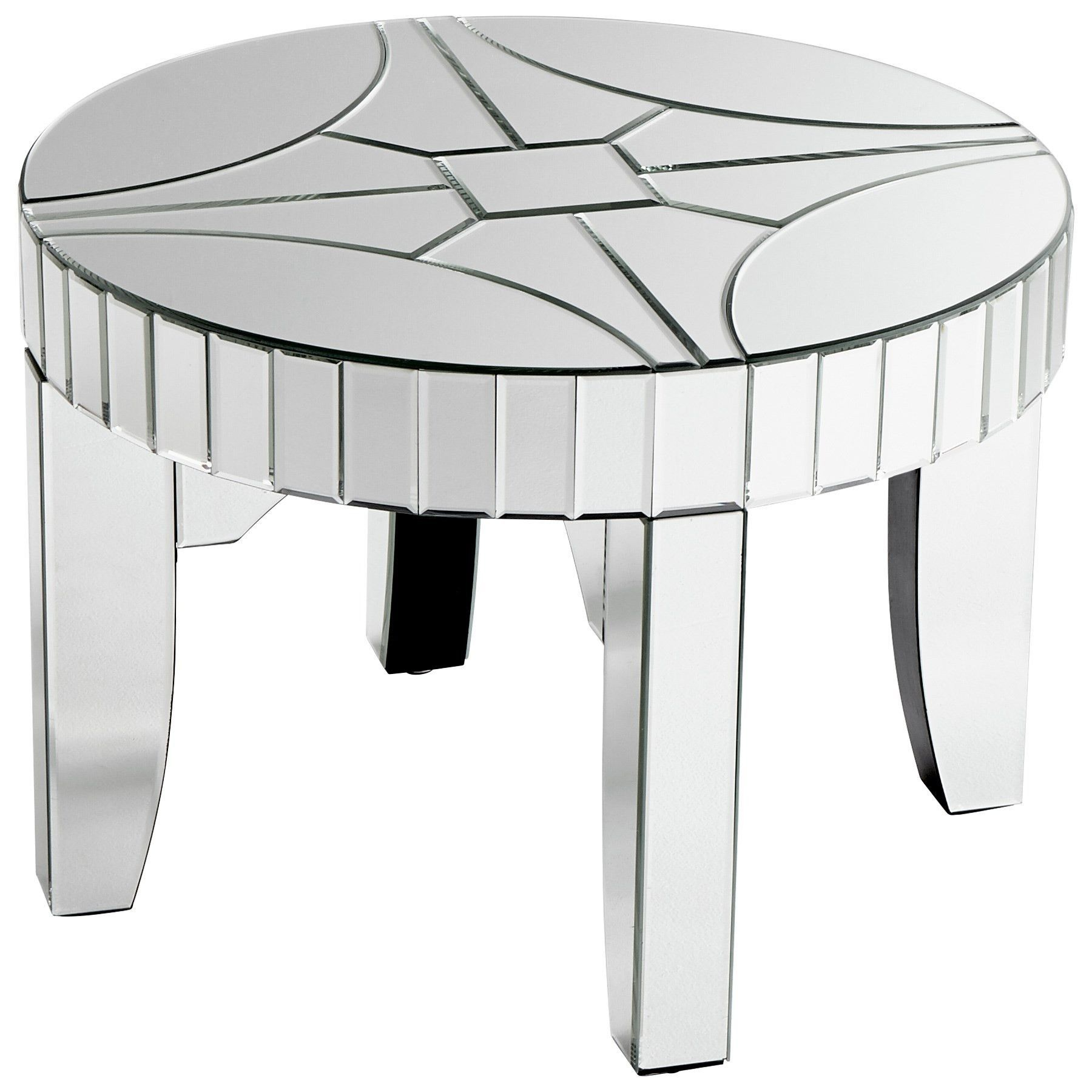 Rennay Contemporary Mirrored Round Accent Table by Cyan Design
