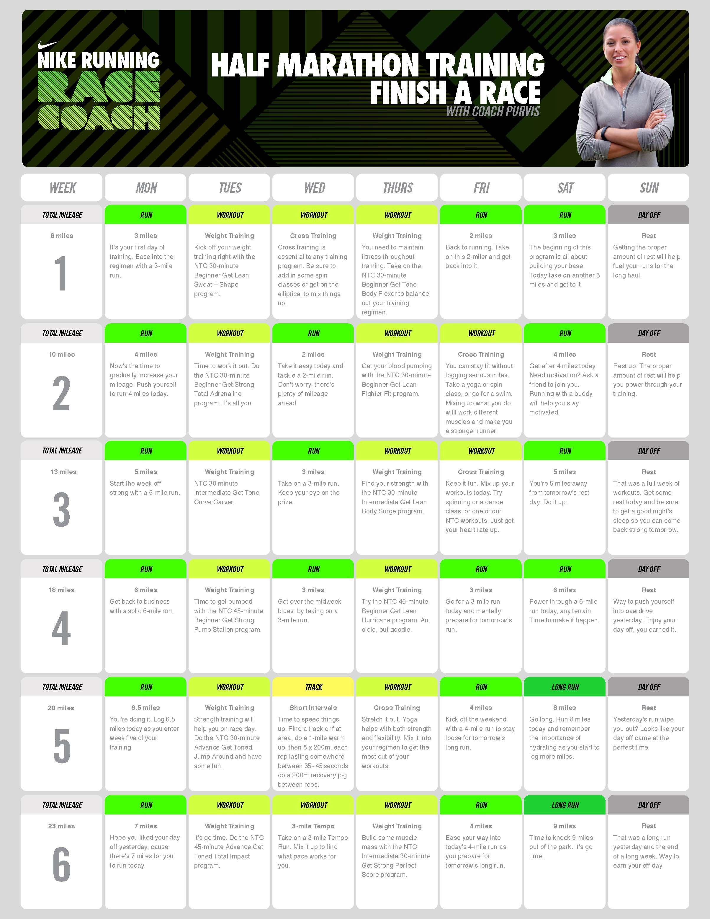 ae6833934614 Nike Half Marathon Training Plan (Week 1-6)