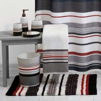 Red Black And White Shower Curtain  This Urban Stripe Is Highlighted With A