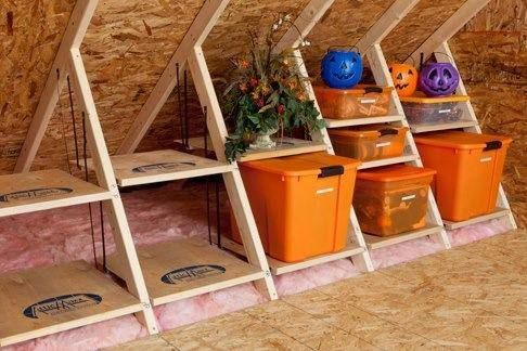 Don T Wait To Organize Those Holiday Decos In The Attic Put Shelves In Place Before It Gets Too Hot And Look Forward To An Ea Attic Storage Attic Attic Truss