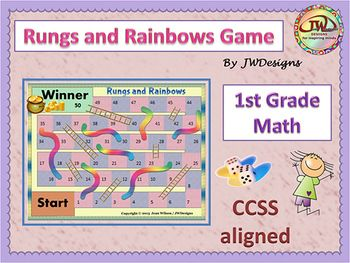 "~Best Seller~   Inspired by the very popular children's game, ""Chutes and Ladders"", I have created a game I call ""Rungs and Rainbows"" to use during centers.  Perfect for 1st grade and homeschoolers. This set comes with the following items:  Rungs and Rainbows game board (k-1st version) Playing cards mat Player pieces List of items required to play Instructions on how to play the game Ten pages (60 cards) of various first grade common core math questions, including addition, subtraction, ..."