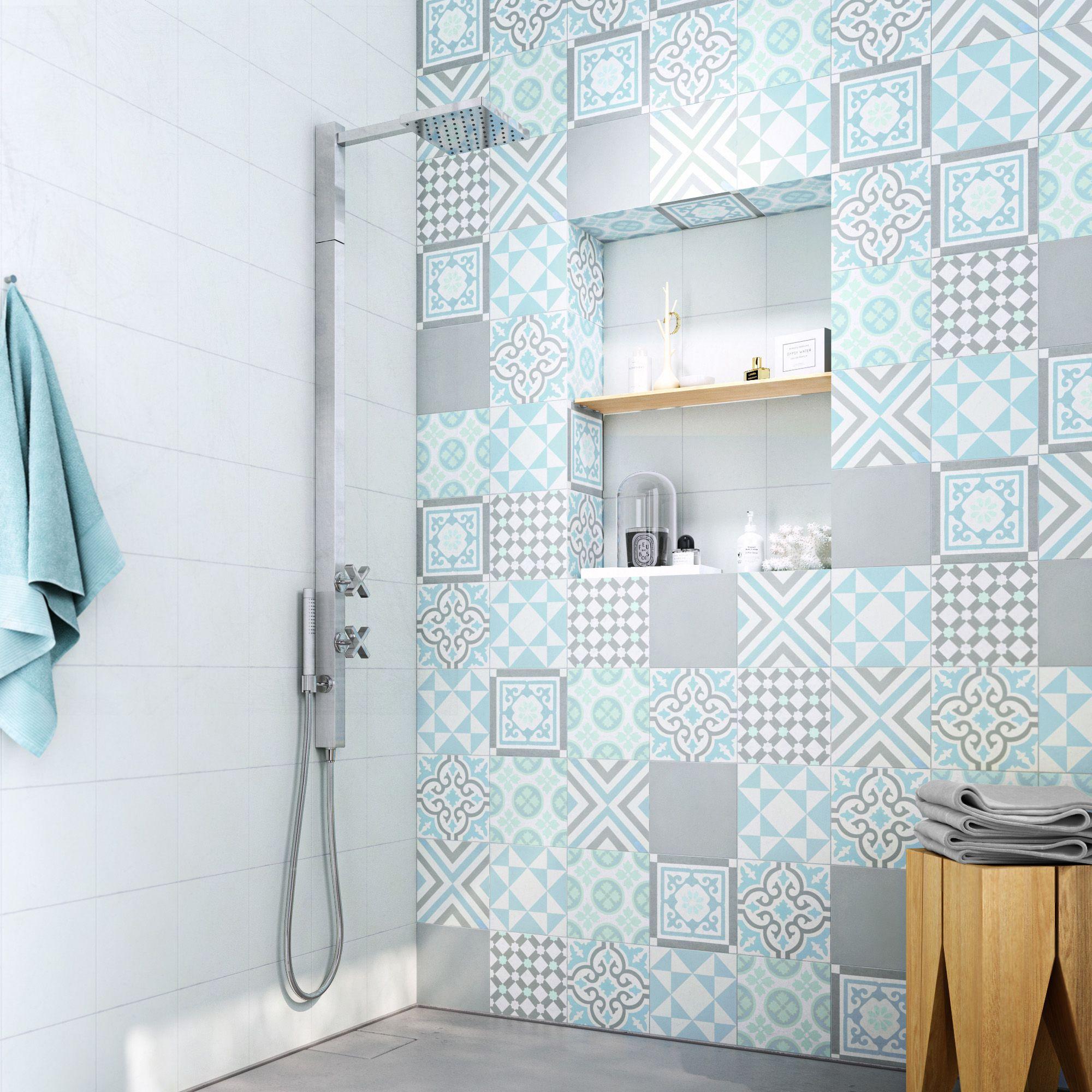 Carrelage Salle De Bain Bleu Turquoise carreau de ciment mur gris, bleu, blanc mat l.20 x l.20 cm