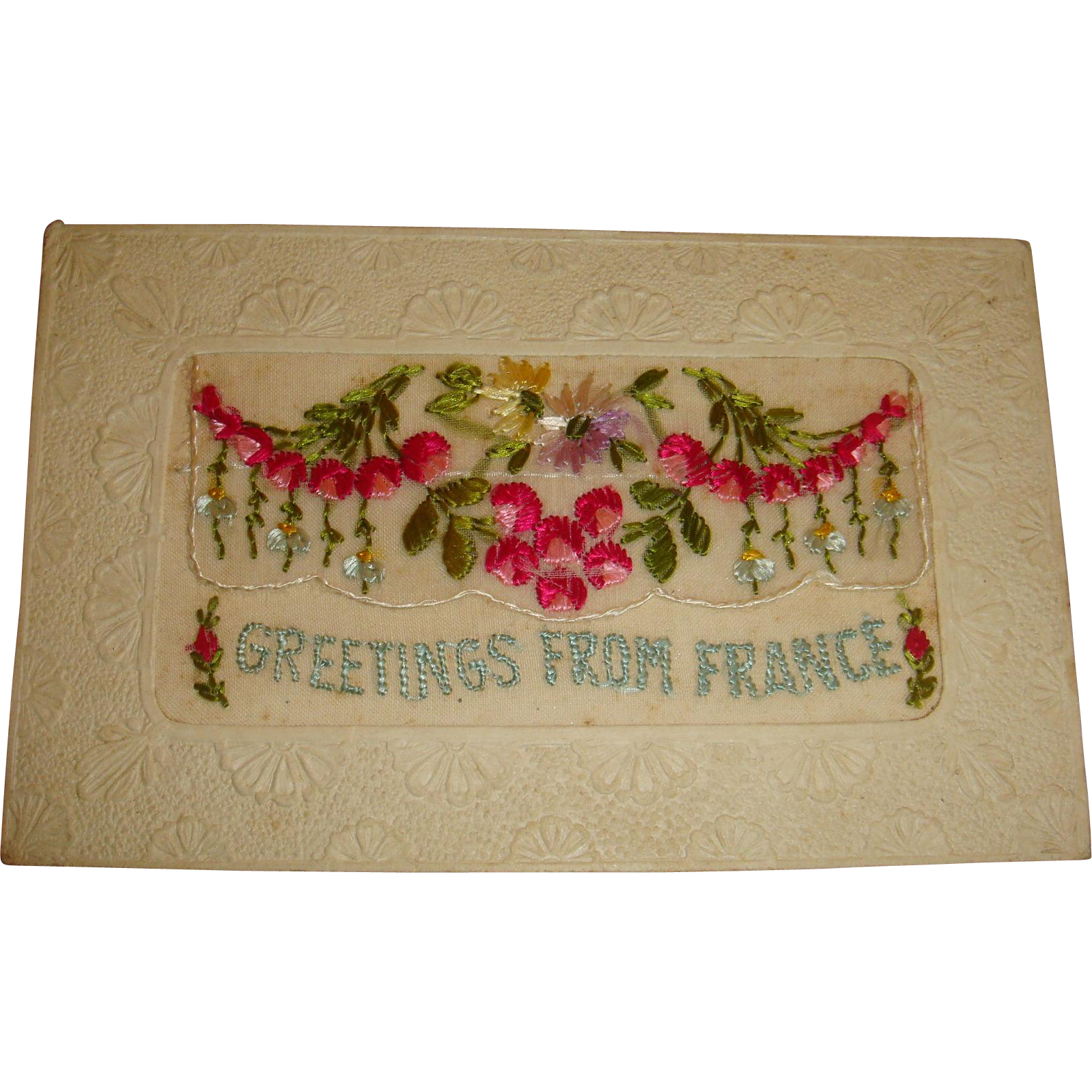 Highly Embossed Real Silk Fabric French Christmas Postcard French