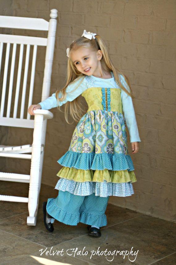 Buy 2 Get 1 Free....Sasha Triple Ruffle Reverse Knot Girls Dress ...