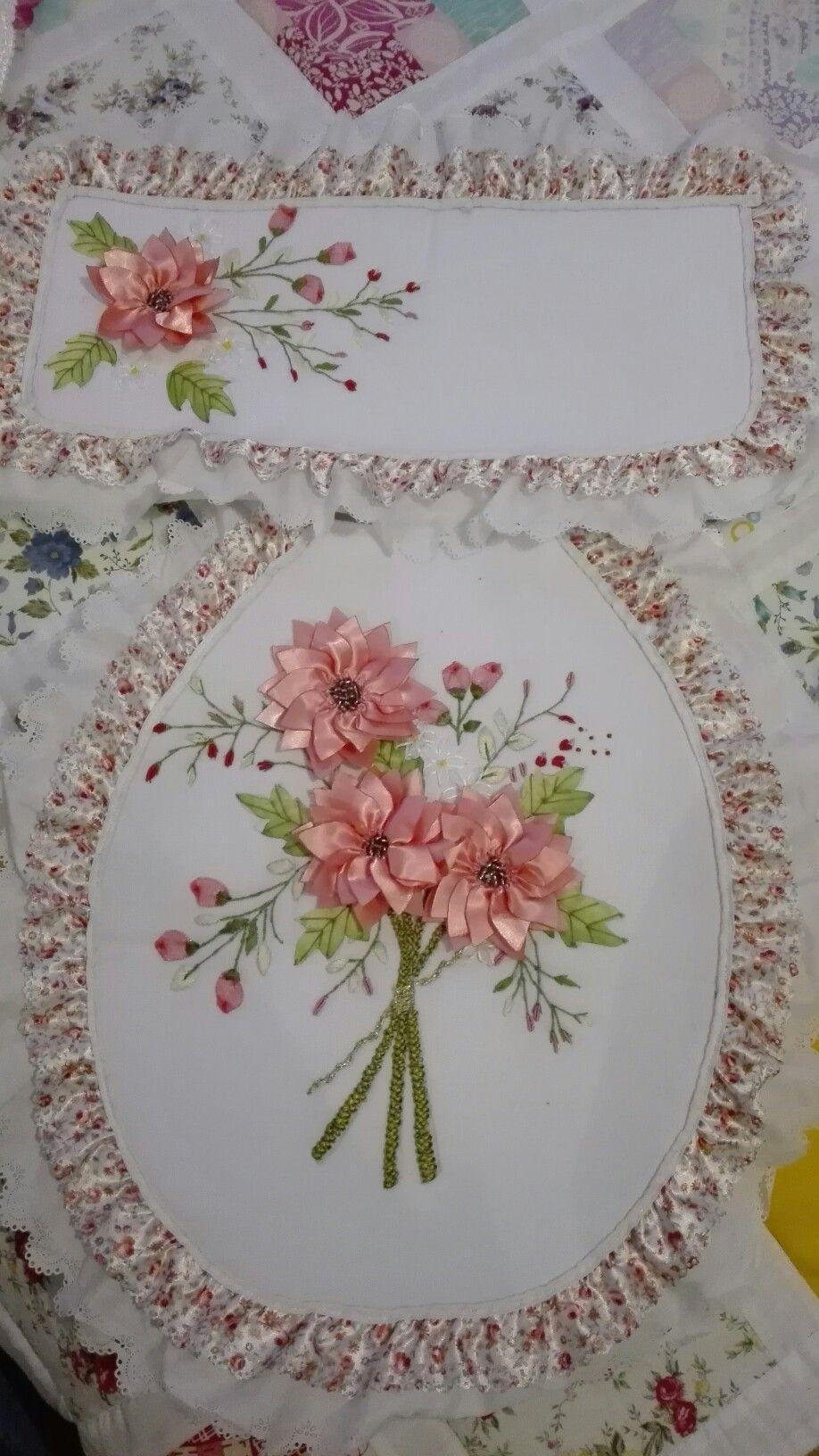 Juego De Bano Bordado En Cintaa Silk Ribbon Embroidery