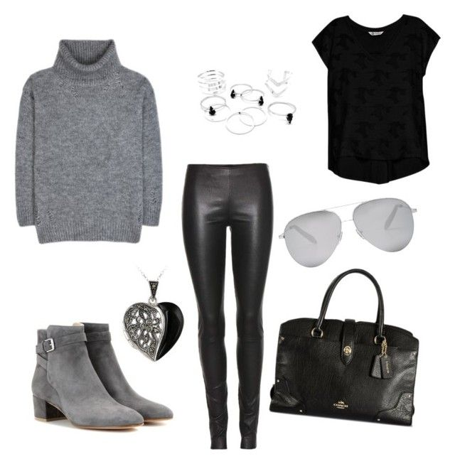 """""""Back in Black"""" by bowlingnut on Polyvore featuring The Row, Yves Saint Laurent, Bobeau, Gianvito Rossi, Glitzy Rocks, Victoria Beckham and Coach"""