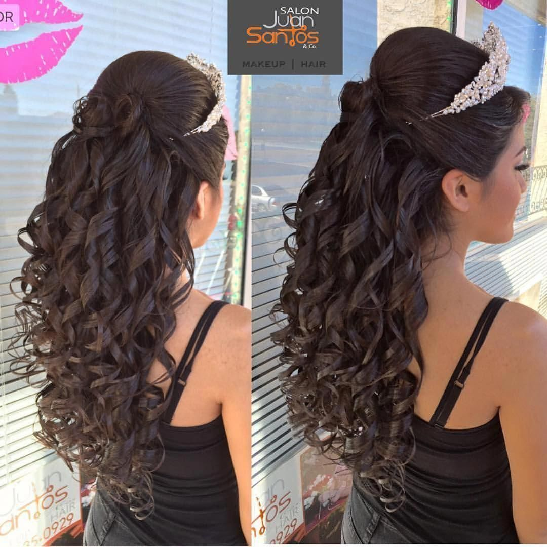 Hairstyles quinceanera with curls and tiara photo fotos