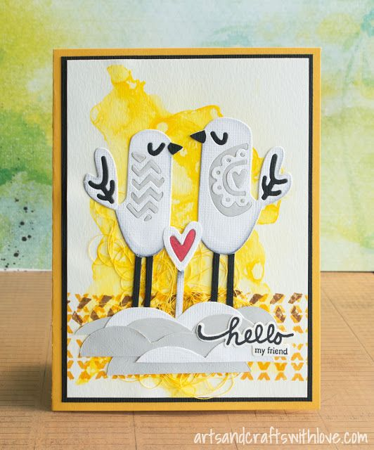 Card with water coloured background and die-cut birds on the front.  - by Elina Stromberg -