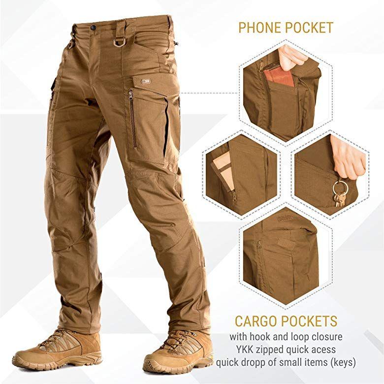 Amazon Com Conquistador Flex Pantalones Tacticos Para Hombre Con Bolsillos Cargo Clothing Tactical Pants Mens Tactical Pants Mens Work Pants