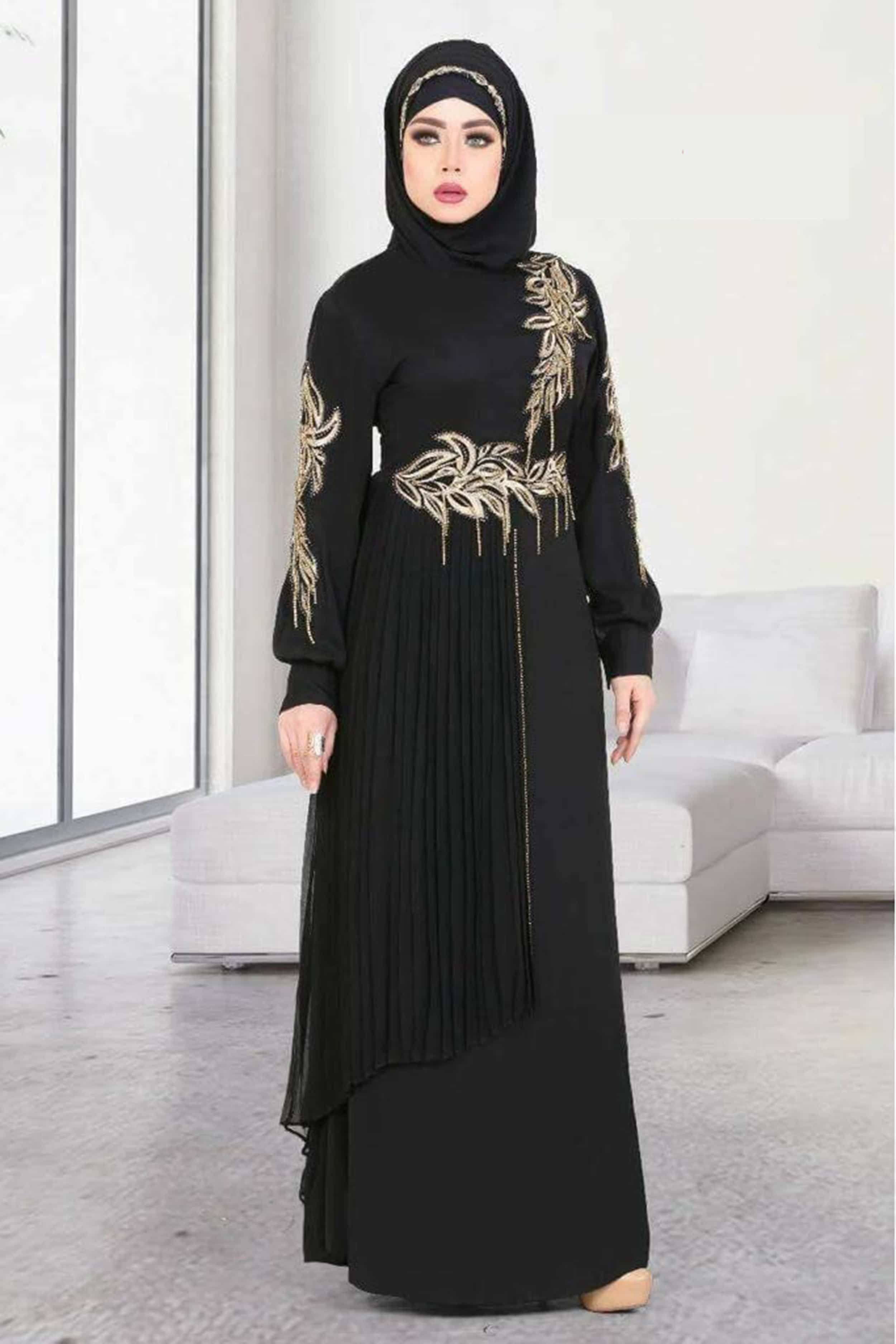 41ef1810e882e Islamic Clothing · Muslim Women · Kanzi Abaya is New Women's Black Abaya  with Embroidery on bust and sleeves with Scarf from