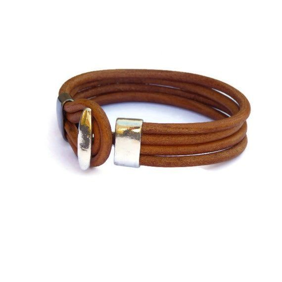 Photo of Mens leather bracelet, multistrand dark tan jewelry, anniversay gift for him, ha…