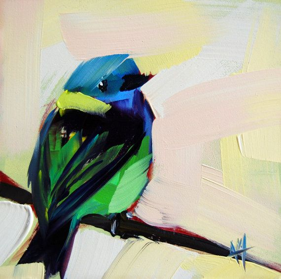 Green headed Tanager original bird oil painting by prattcreekart, $50.00