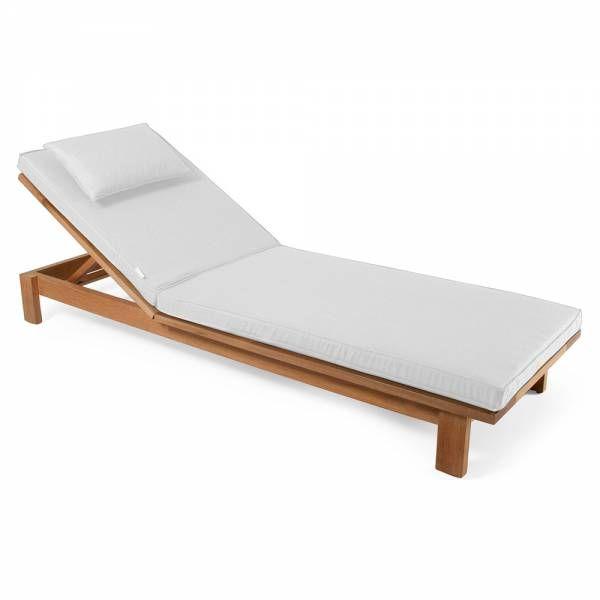 Skanor Sun Lounger - White Cushion, Teak | Sun lounger ...