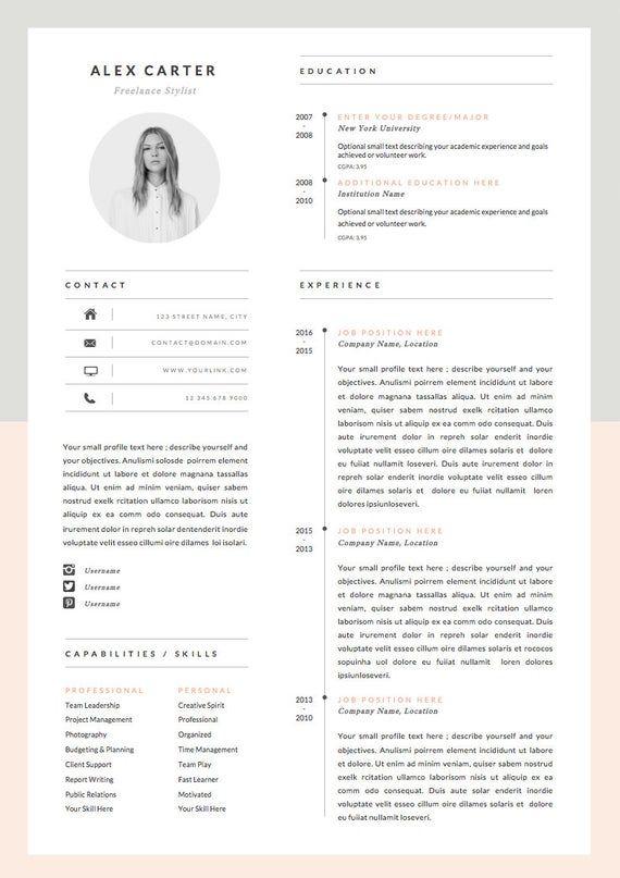 Modern Resume Template Cover Letter Icon Set For Microsoft Etsy Infographic Resume Modern Resume Template Resume Design