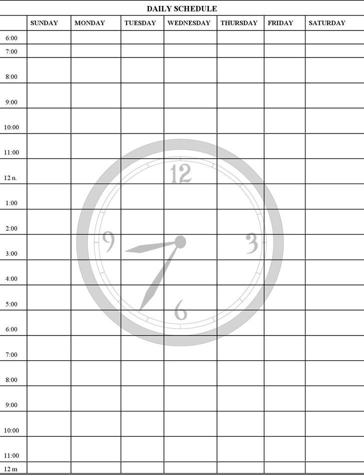 word template daily schedule