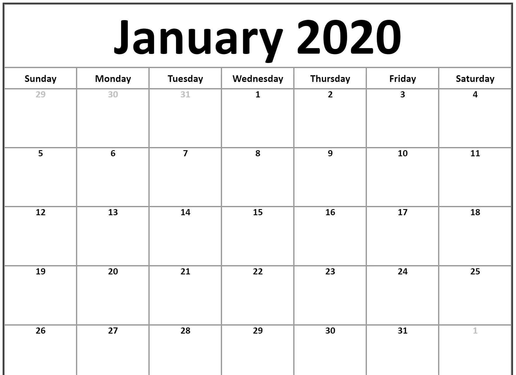 Free Monthly January 2020 Calendar Word Excel Landscape Notes Pdf