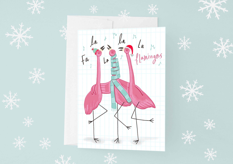 Flamingo Christmas Cards.Flamingo Christmas Card Singing Flamingo Festive Xmas Card