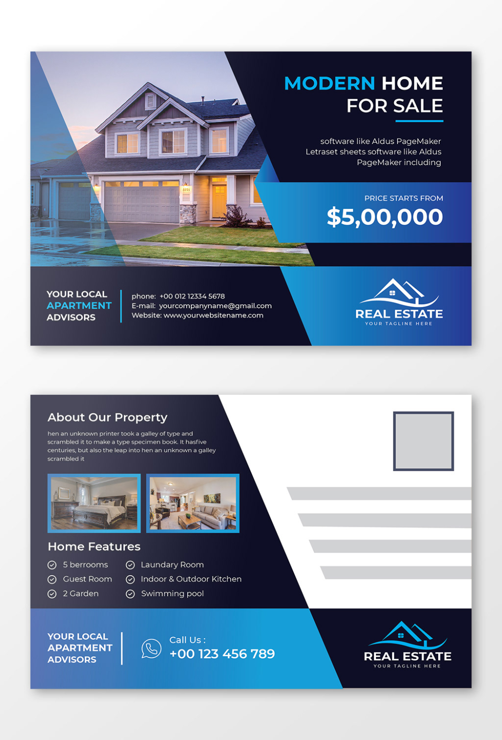 Real Estate Business Eddm Postcard Design Template On Behance Real Estate Postcards Postcard Design Real Estate Business