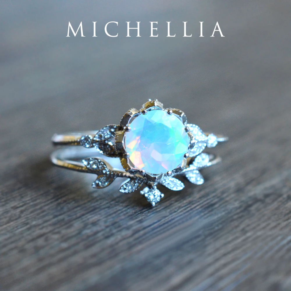 [Evanthe] Vintage Floral Ring in Opal (With images) Rose