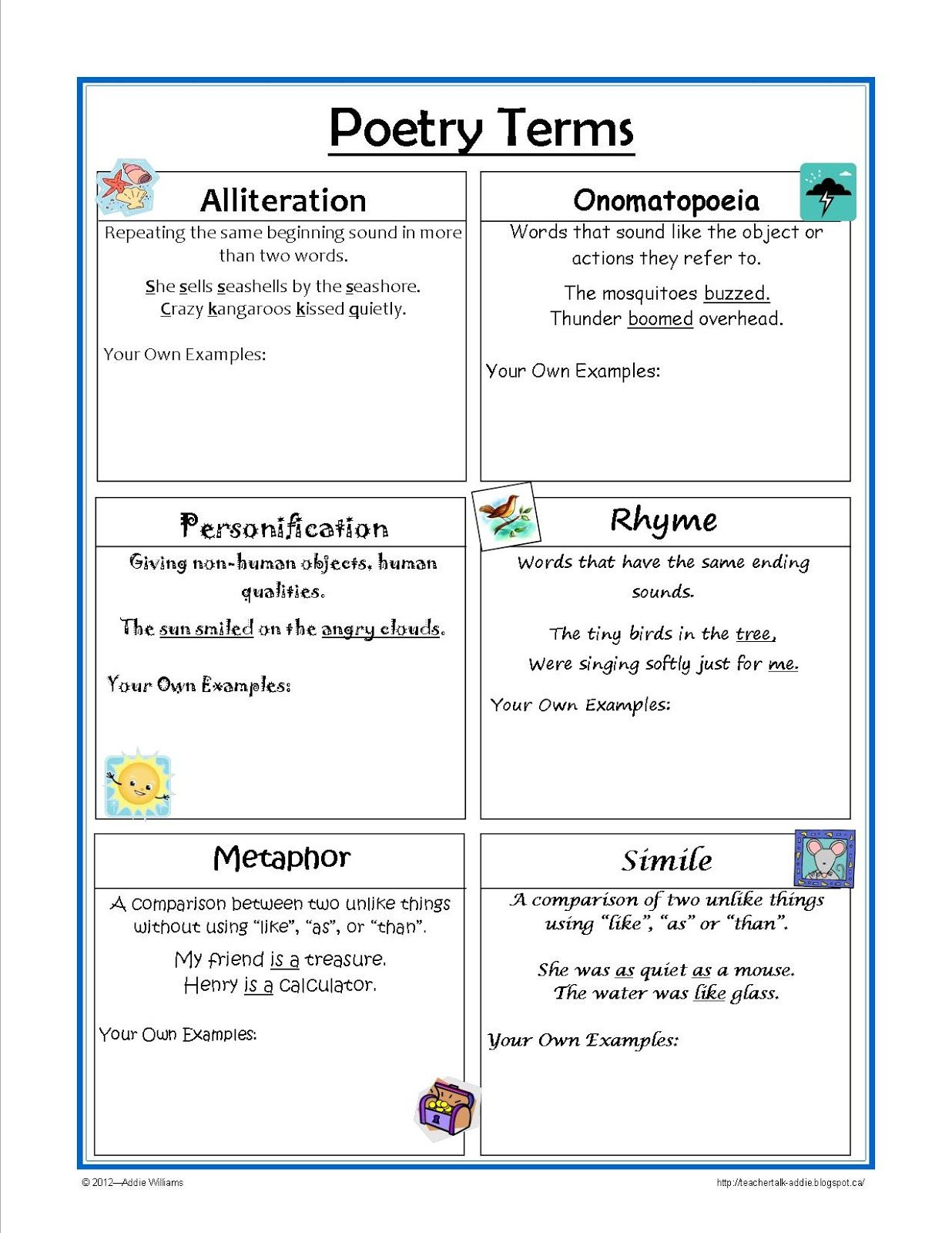 Figurative Language Reference Sheet