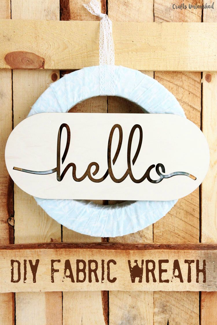 Photo of DIY Fabric Wreath with Laser Cut Hello Sign