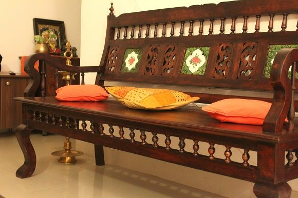 Indian Woodworking Diy Arts Crafts Blog Living Room Makeover A Kerala Style Interior In The Making Wooden Sofa Designs Wooden Sofa Set Indian Living Rooms