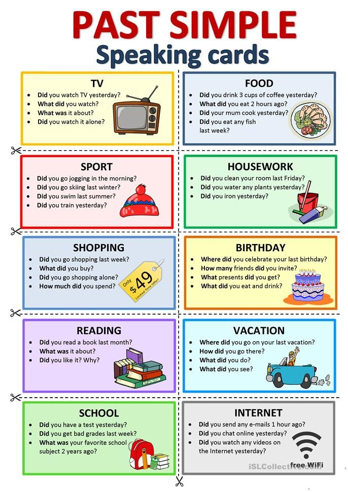 past simple  speaking cards  english esl worksheets for
