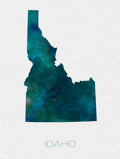 Idaho Map Watercolor Poster United States Map Print Blue Love - United states map idaho