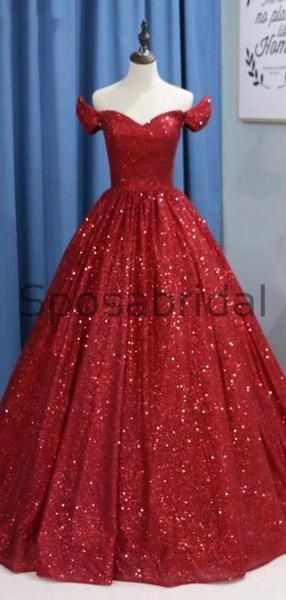 Custom A-line Sparkly Red Sequin Elegant Formal Modest Prom Dresses, Ball Gwon PD1868 #modestprom