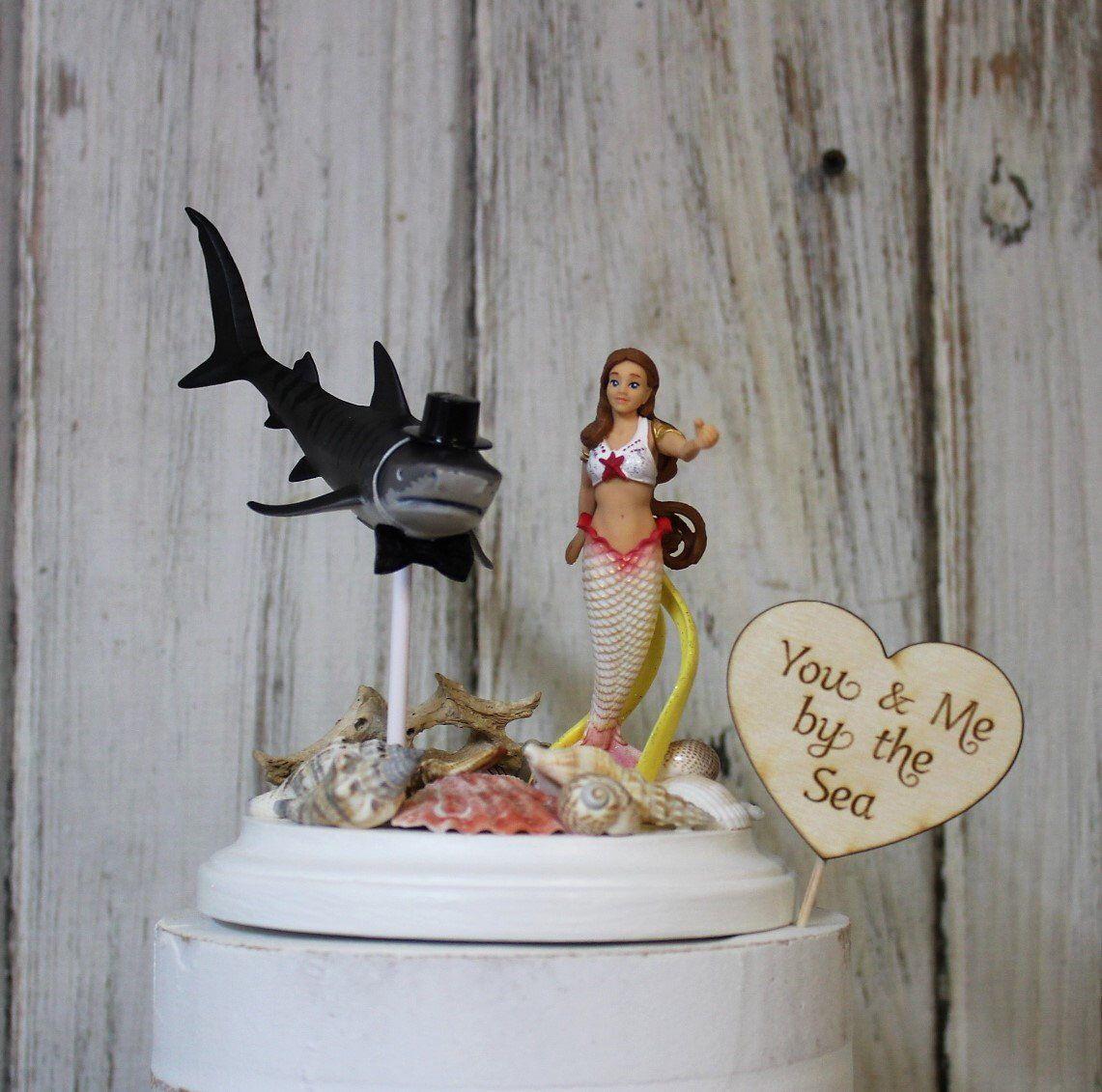 Beach wedding cake toppersharkmermaidoceandestination