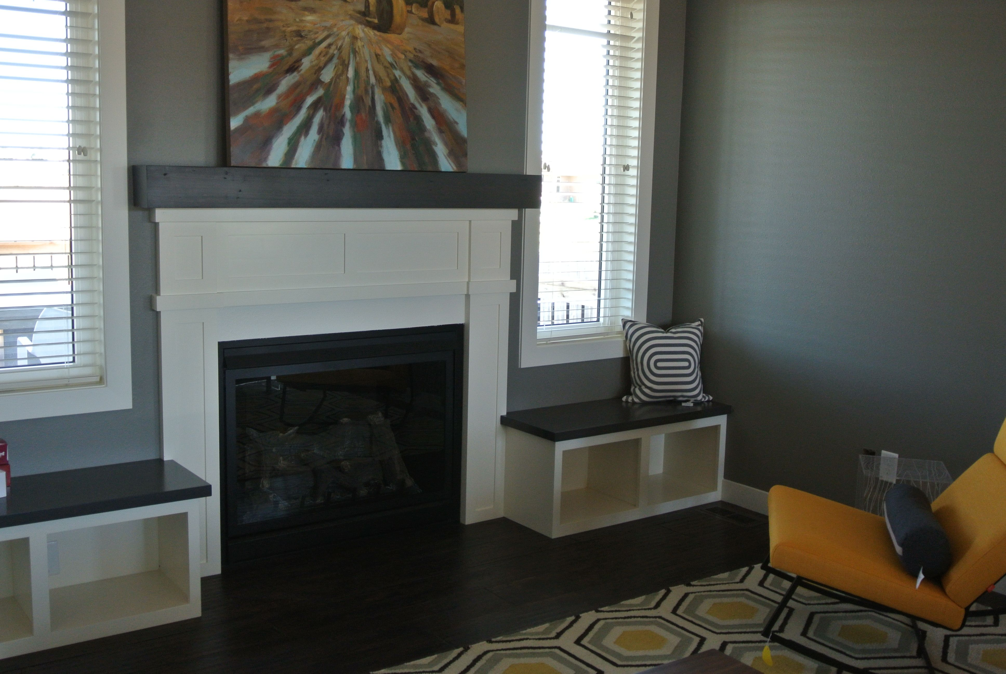 painted fireplace surround with stained birch wood mantel u0026 wood