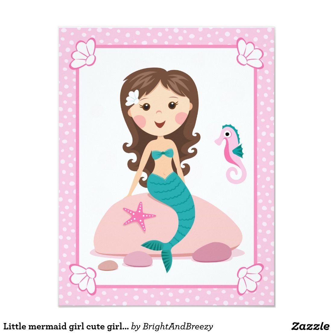 Little mermaid girl cute girly birthday invitation | Little ...