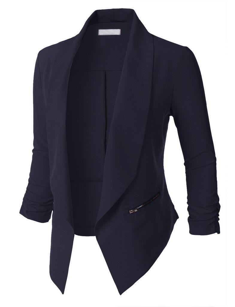 Long Sleeve Women Casual Blazer Office Wear Jacket Open Front Zipper Slim Lapel Coat