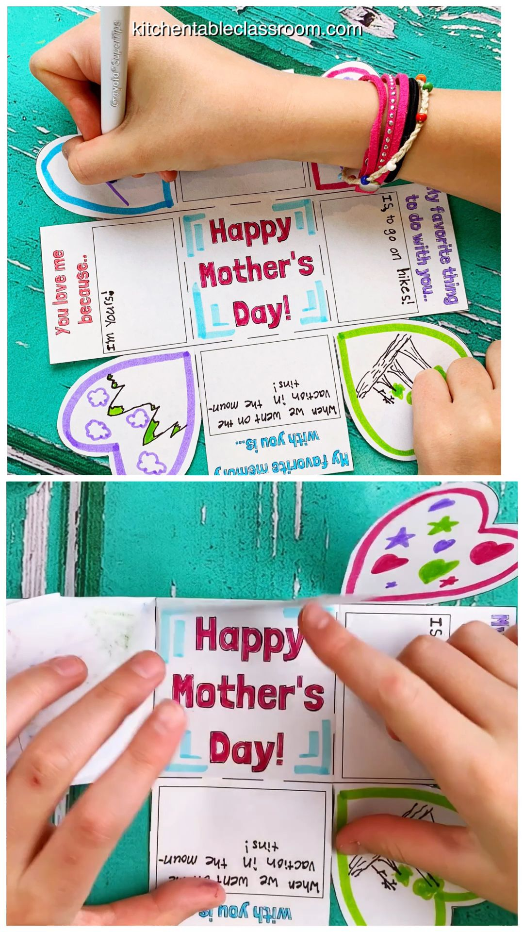 A Free Exploding Printable Mothers Day Card for Kids - The Kitchen Table Classroom